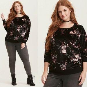 Torrid Velvet Floral Print Sweatshirt HW5830